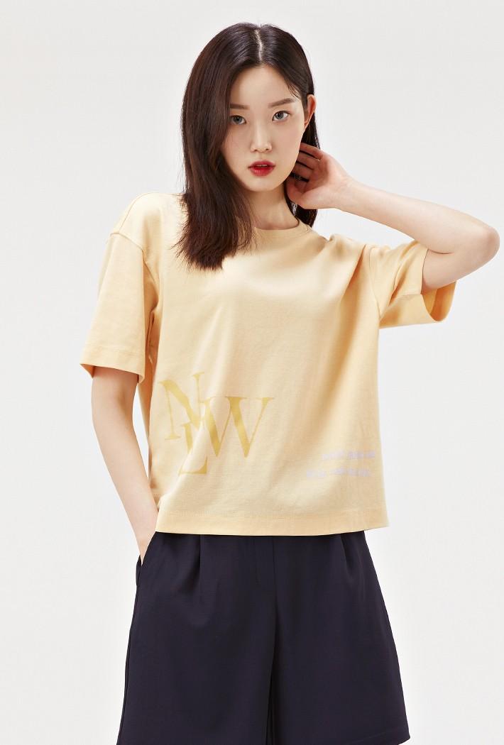 여성 루즈핏 그래픽 크롭 티셔츠-ABRG5856D06