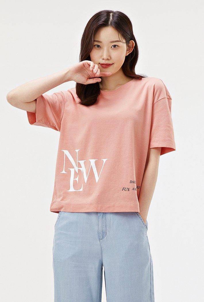 여성 루즈핏 그래픽 크롭 티셔츠-ABRG5856D0P