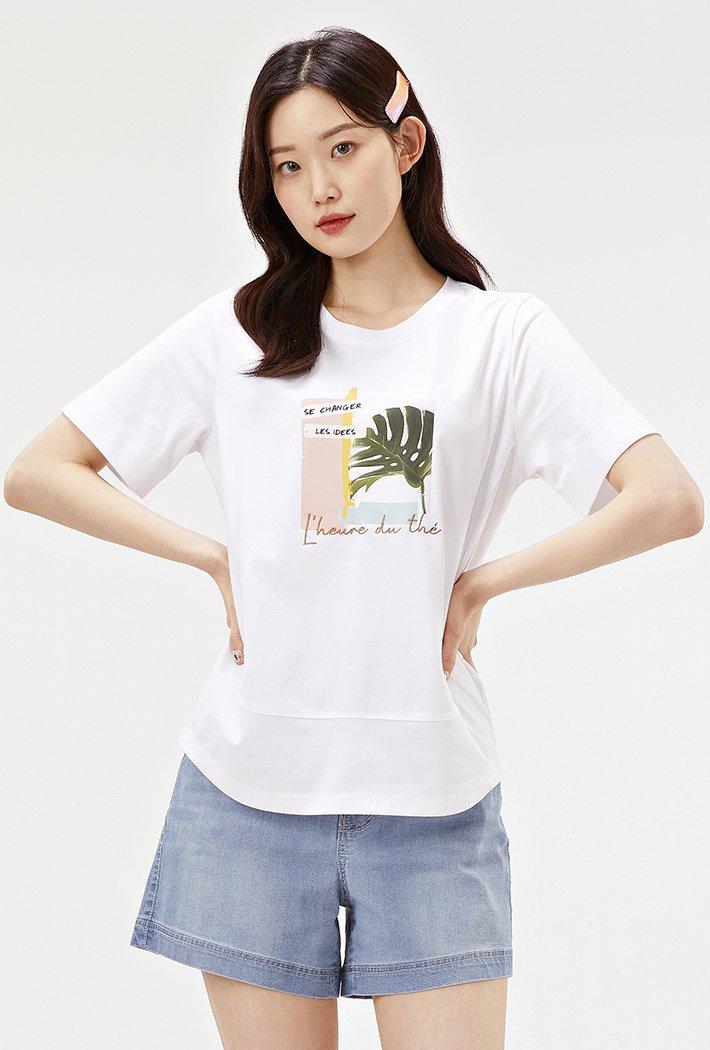 여성 그리너리 그래픽 반팔 티셔츠-ABRG5857D01