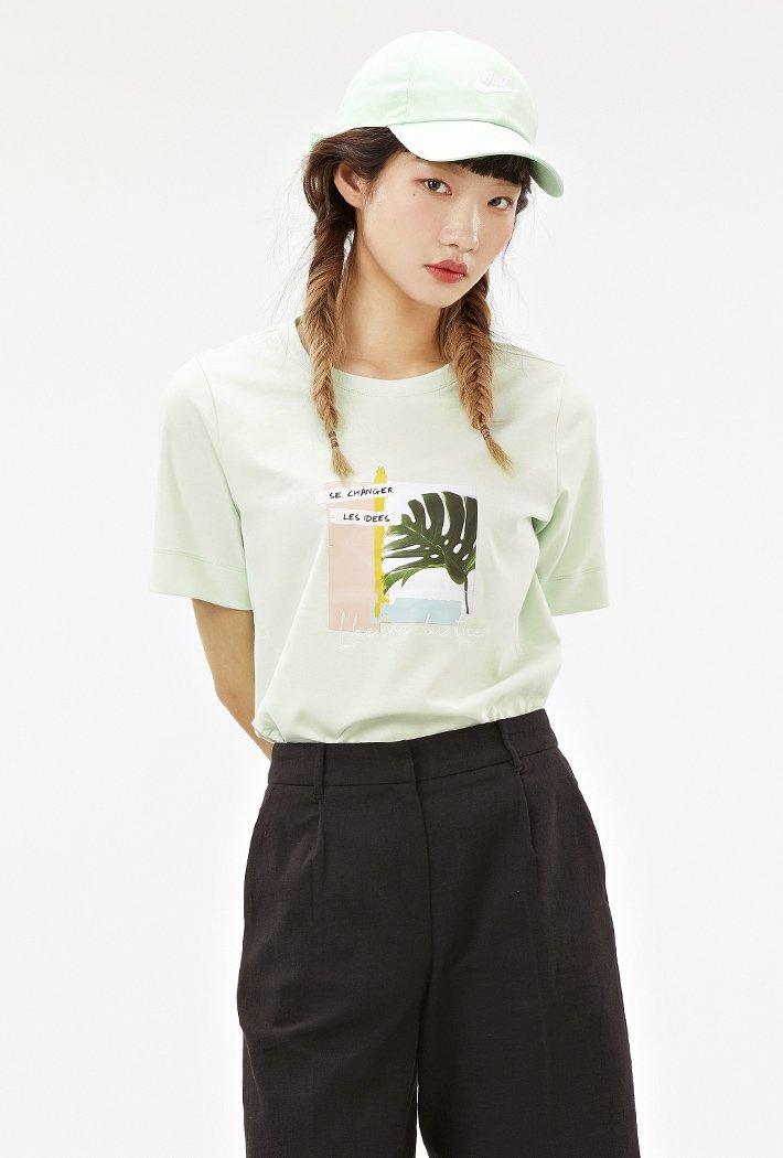 여성 핏변형 그리너리 그래픽 티셔츠ABRG5857D0S