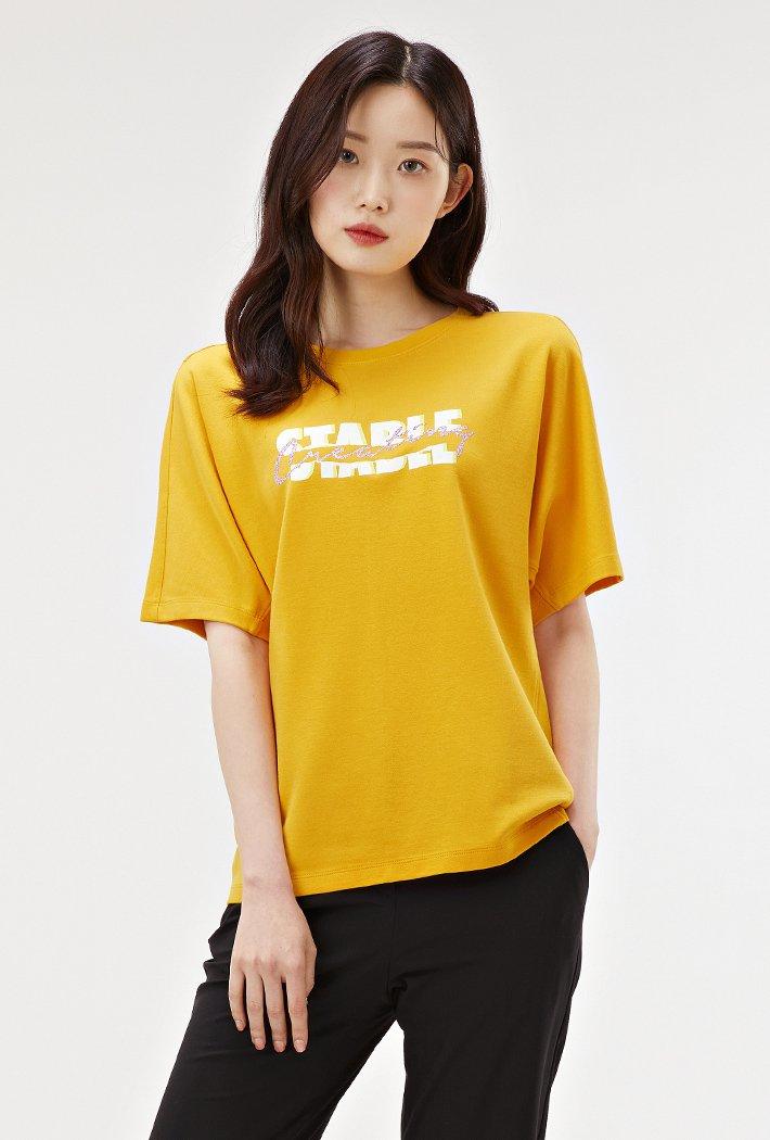 여성 펄장식 그래픽 반팔 티셔츠-ABRG5858D0F