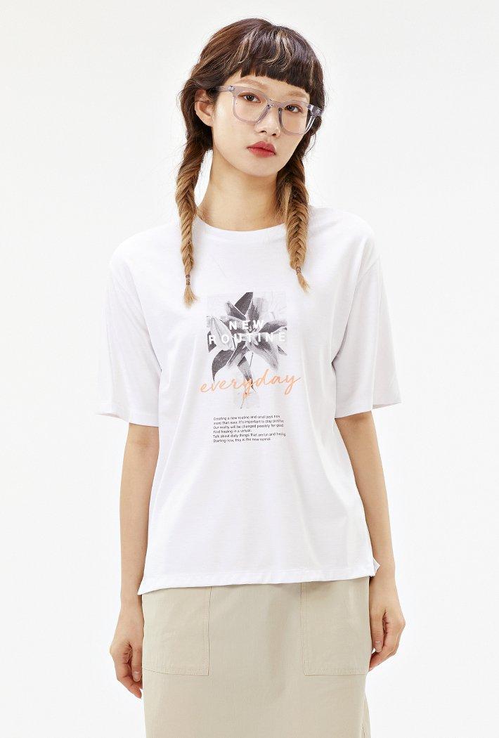 여성 소매 절개변형 그래픽 반팔 티셔츠-ABRG5859D01