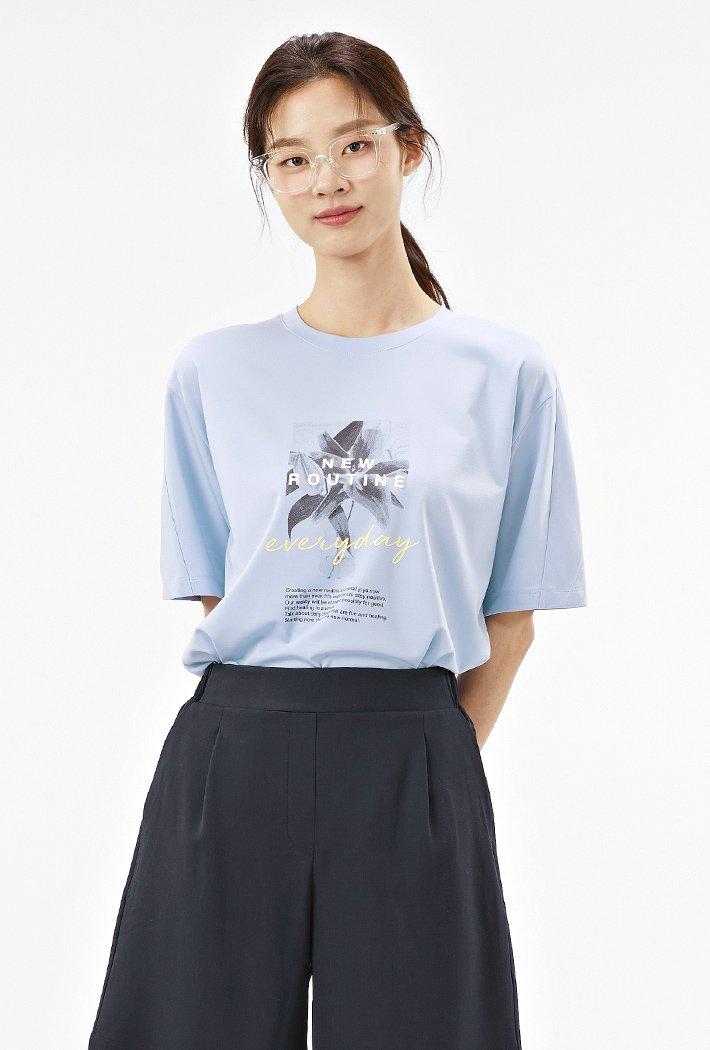 여성 소매 절개변형 그래픽 반팔 티셔츠ABRG5859D0D