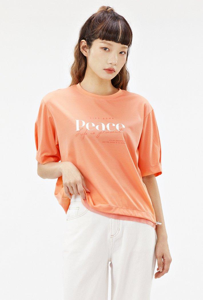 여성 루즈핏 밑단 스트링 반팔 티셔츠-ABRG5861D0K
