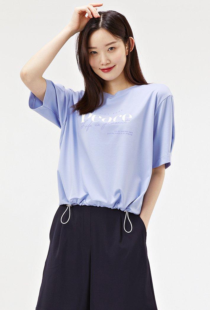 여성 루즈핏 밑단 스트링 반팔 티셔츠-ABRG5861D0T