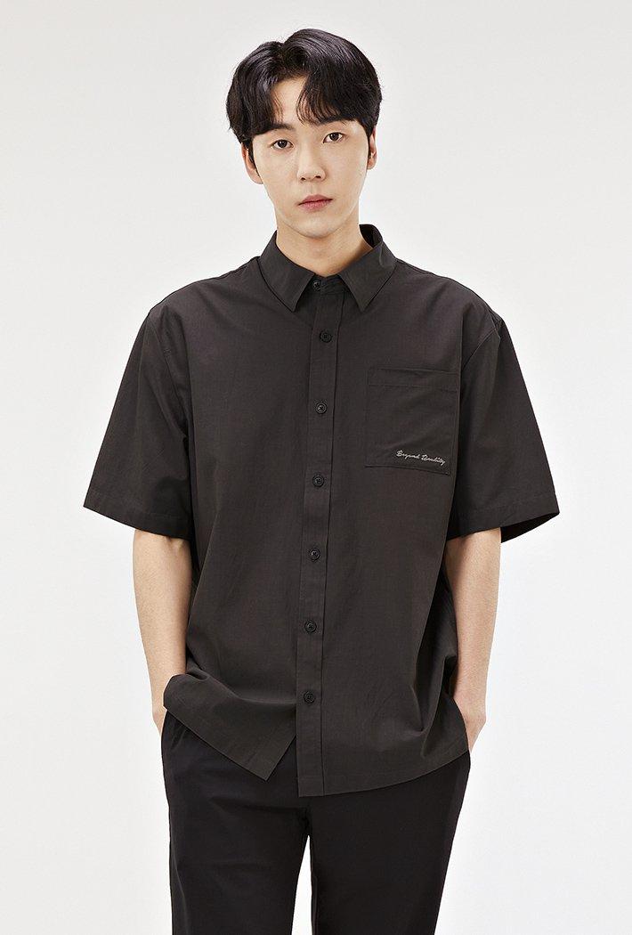 남성 세미 오버핏 모던 반팔 셔츠-ABRK5526D0V