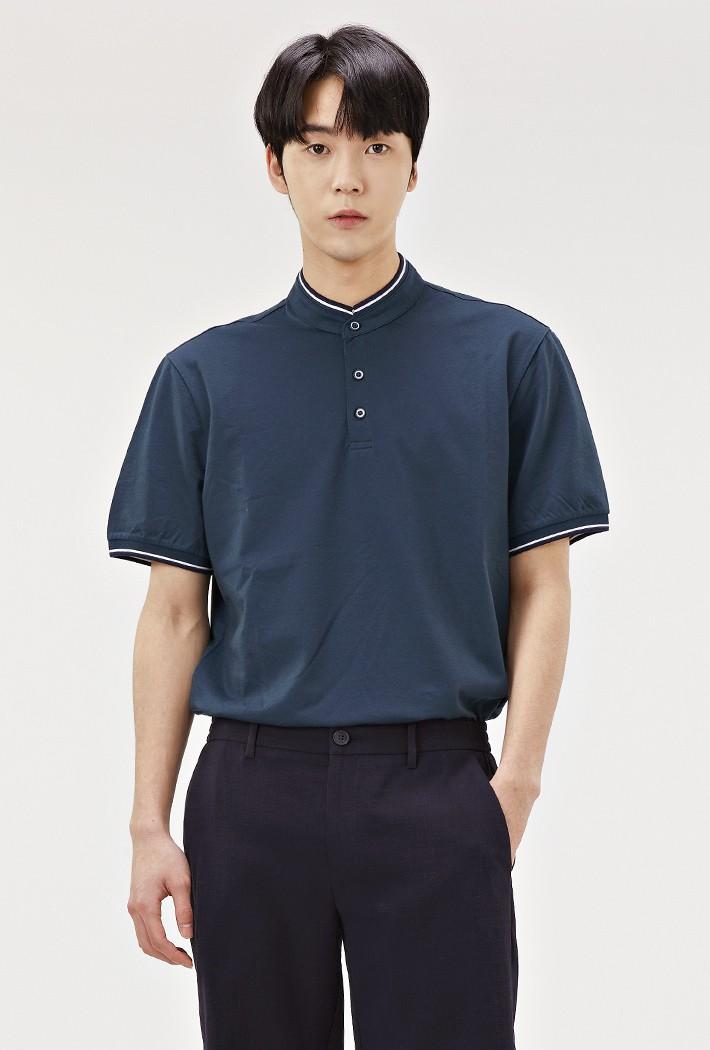 남성 헨리넥 반팔 티셔츠-ABRK5711D0G