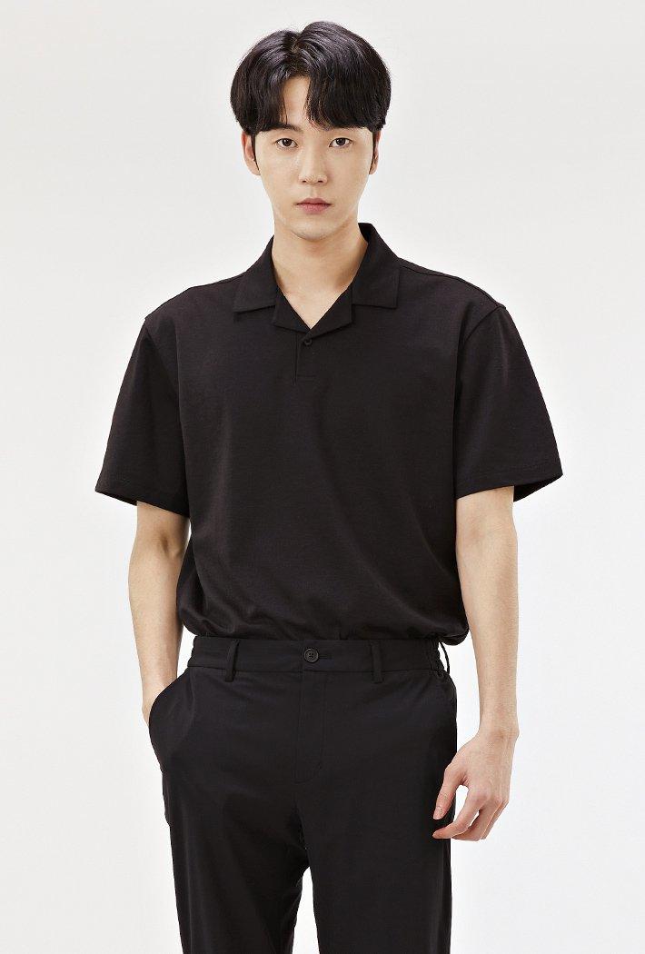 남성 모던 오픈 반팔 카라 티셔츠-ABRK5712D03