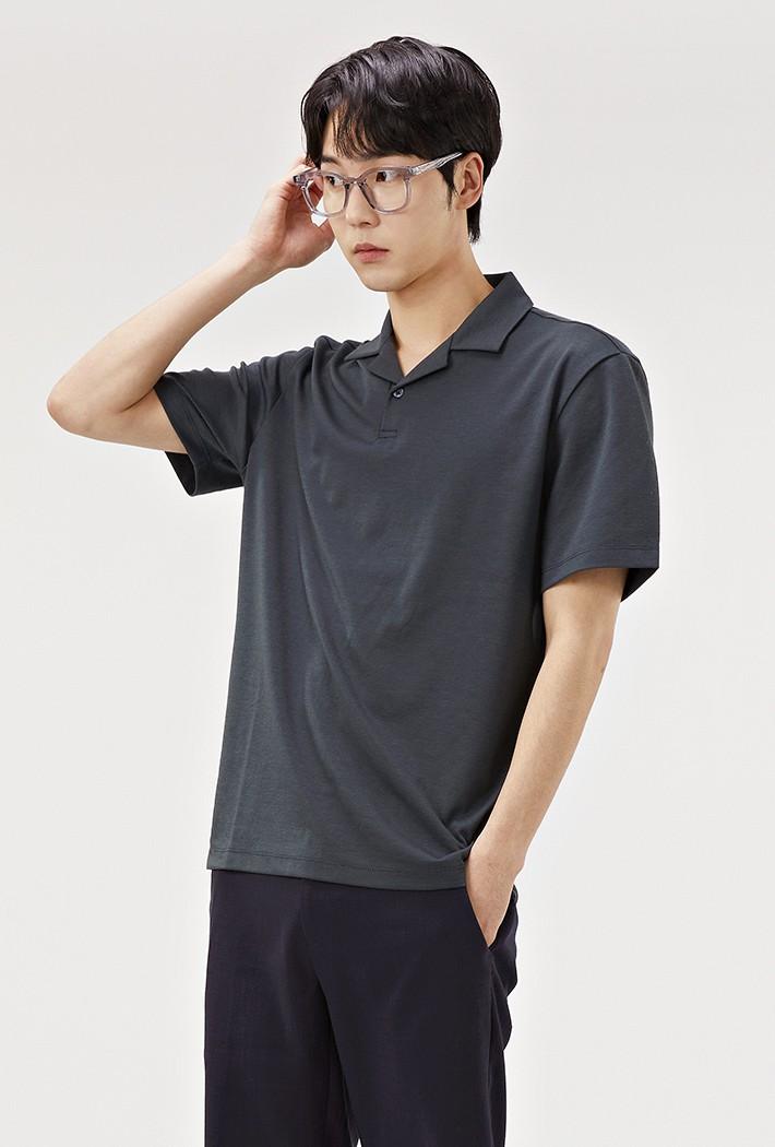 남성 모던 오픈 반팔 카라 티셔츠-ABRK5712D0H