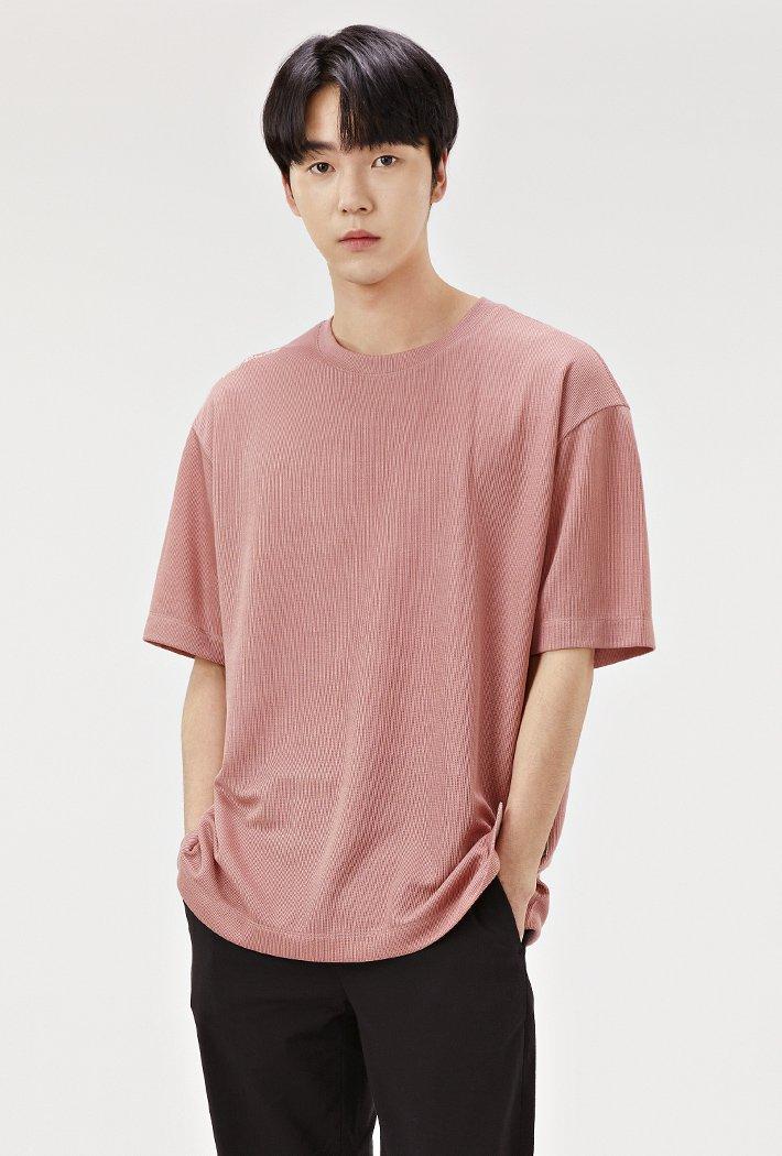 남성 세미 오버핏 밑단 포인트 반팔 티셔츠-ABRK5822D0P