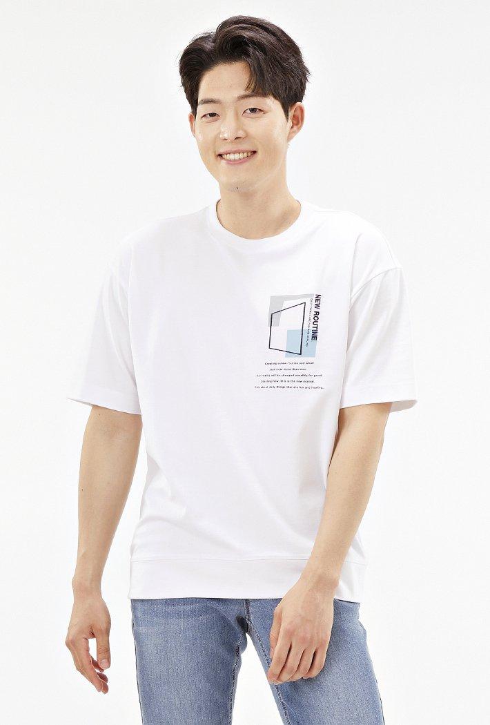 남성 세미 오버핏 드로잉 반팔 티셔츠ABRK5825D01