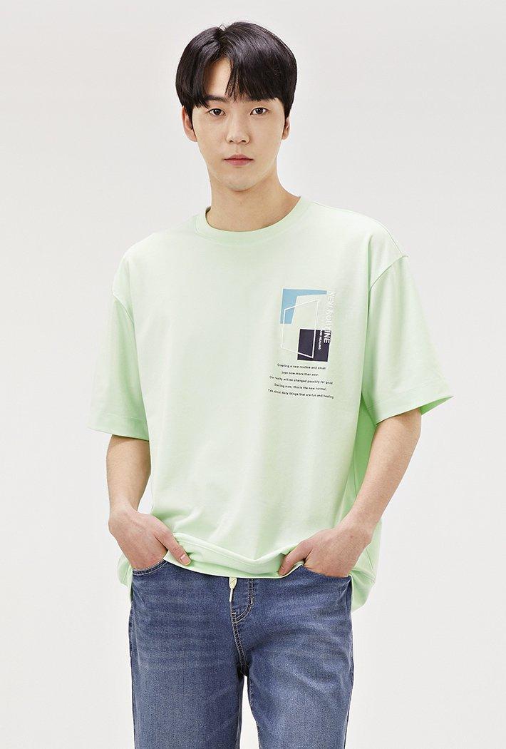 남성 세미 오버핏 드로잉 반팔 티셔츠-ABRK5825D0Y