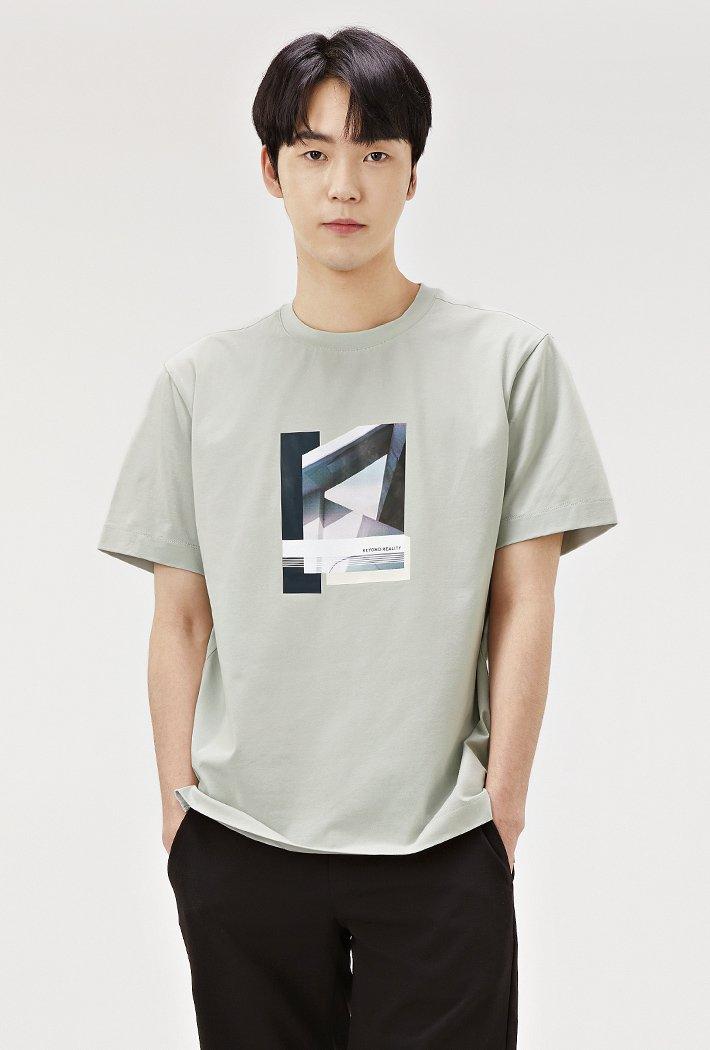 남성 원포인트 모던 그래픽 티셔츠ABRK5826D0S