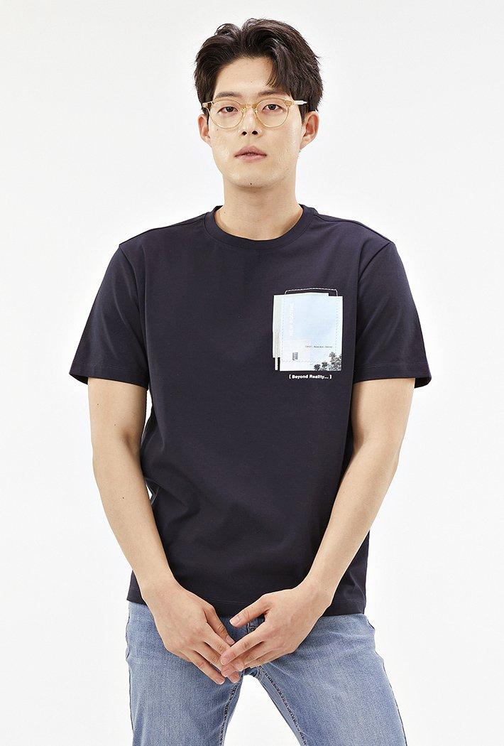 남성 포토믹스 그래픽 티셔츠ABRK5827D04