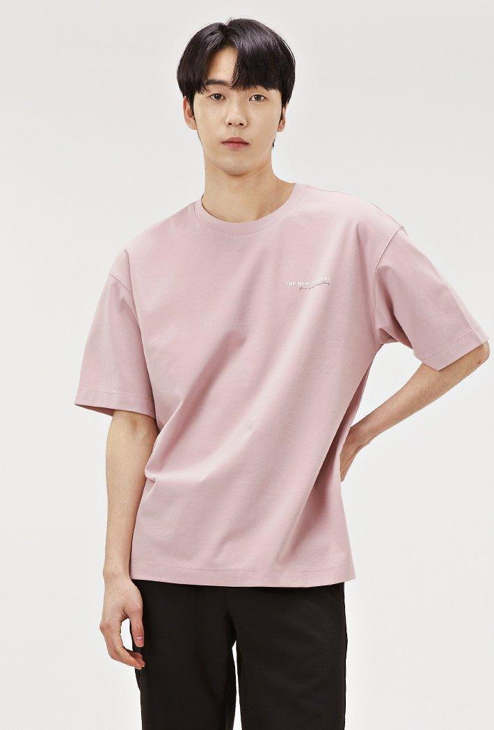 남성 세미오버핏 백 그래픽 티셔츠-ABRK5828D0P