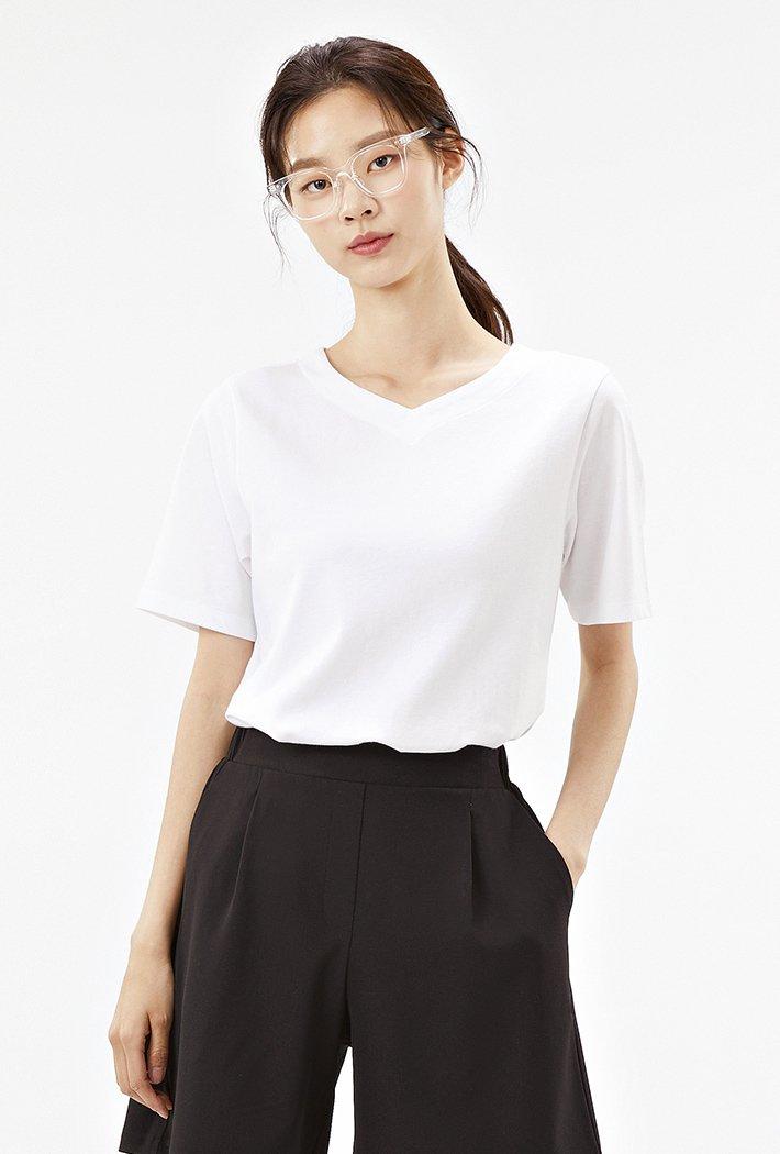 여성 하트넥 반팔 티셔츠-ABZG5811C01