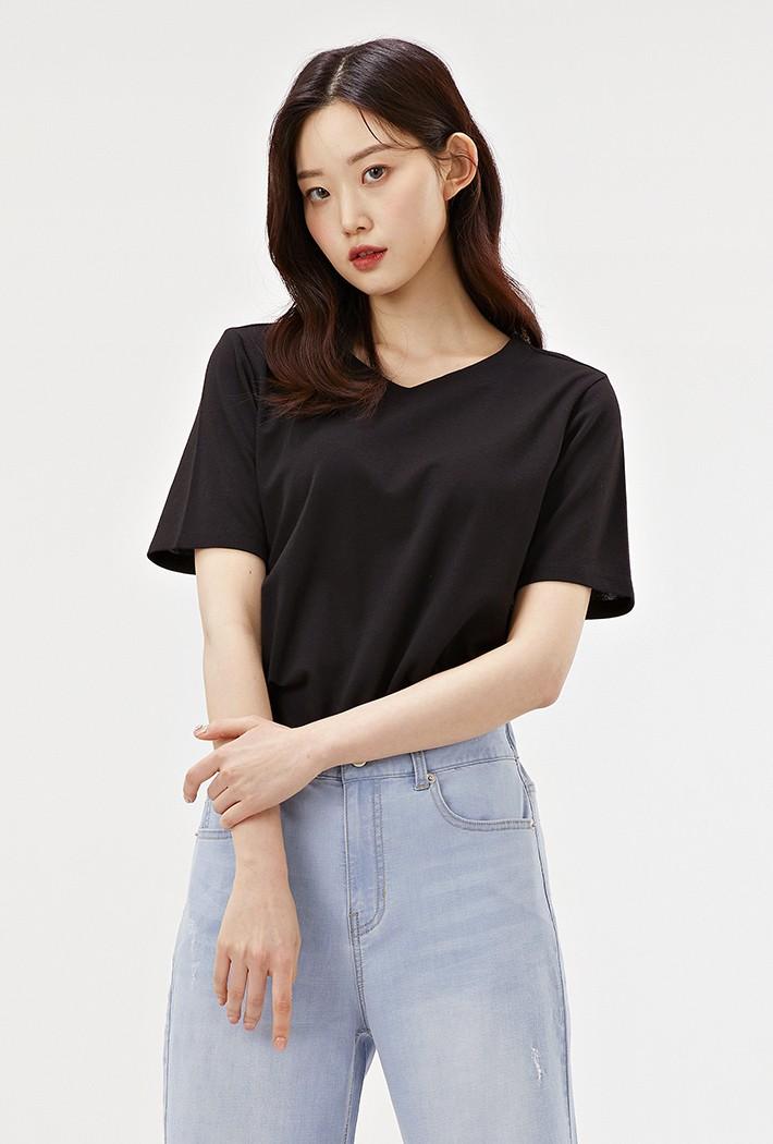 여성 하트넥 반팔 티셔츠-ABZG5811C03