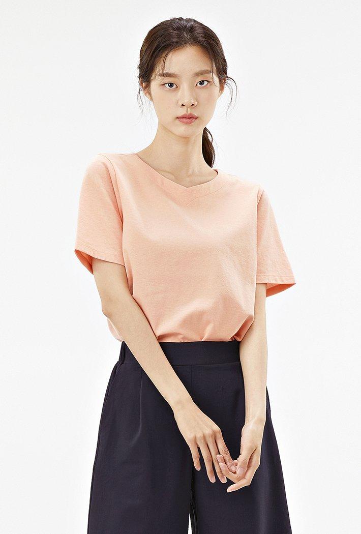 여성 하트넥 반팔 티셔츠-ABZG5811C0P