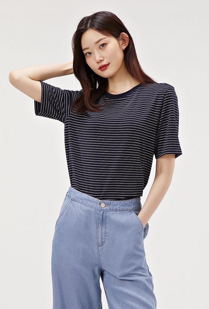 여성 스트라이프 반팔 티셔츠-ABZG5812C04