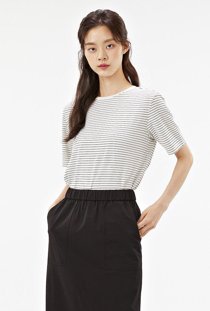 여성 스트라이프 반팔 티셔츠-ABZG5812C0A