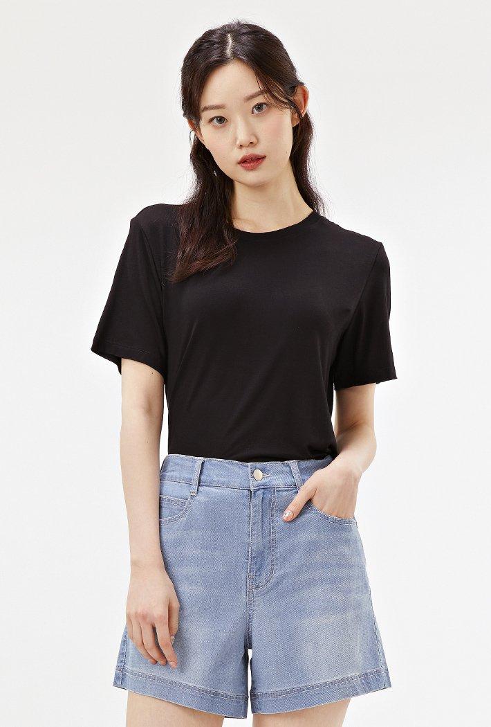 여성 소프트 터치 베이직 반팔 티셔츠-ABZG5813C03