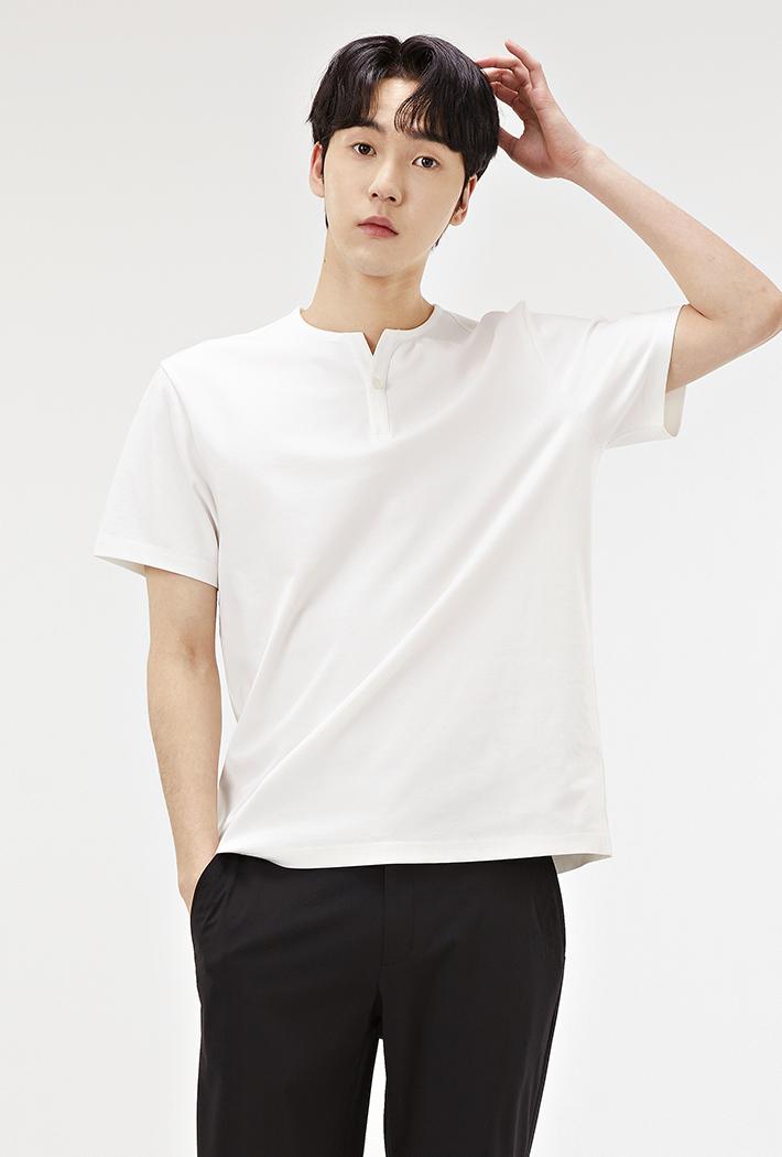 남성 트임넥 베이직 반팔 티셔츠-ABZK5802C0A