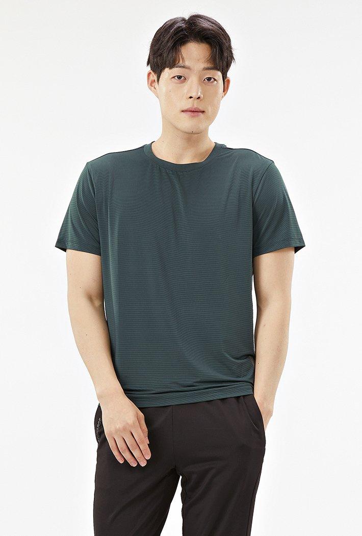 남성 라운드넥 쿨테크 반팔 티셔츠-ABZK5807D0H