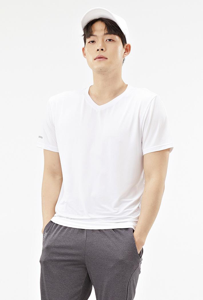 남성 브이넥 쿨테크 반팔 티셔츠-ABZK5808D01