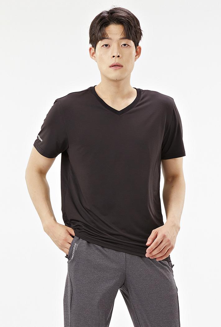 남성 브이넥 쿨테크 반팔 티셔츠-ABZK5808D03