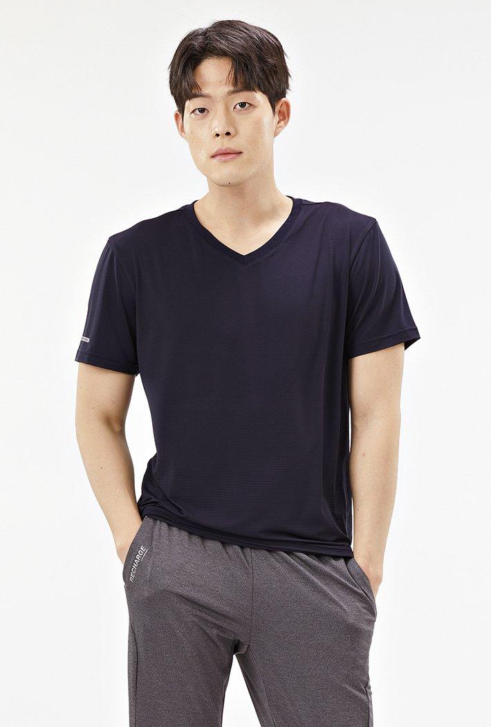 남성 브이넥 쿨테크 반팔 티셔츠-ABZK5808D04