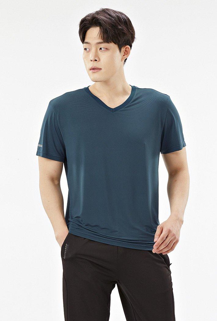 남성 브이넥 쿨테크 반팔 티셔츠ABZK5808D0G