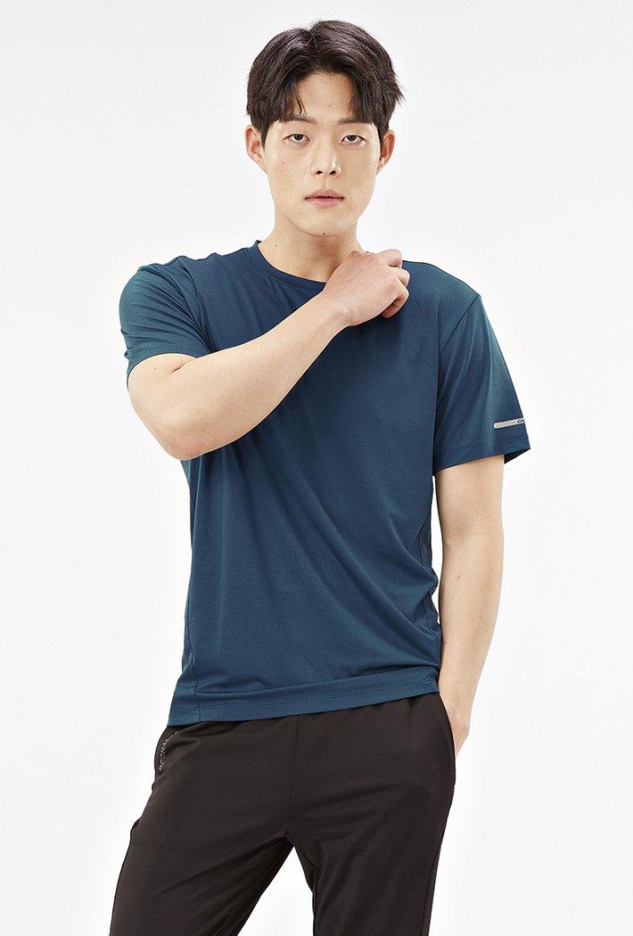 남성 그래픽 쿨테크 반팔 티셔츠-ABZK5809D0G