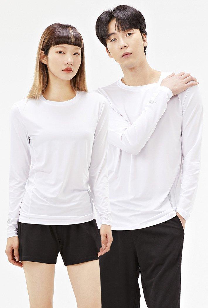 공용 라운드넥 긴팔 쿨테크 티셔츠-ABZU5181C01