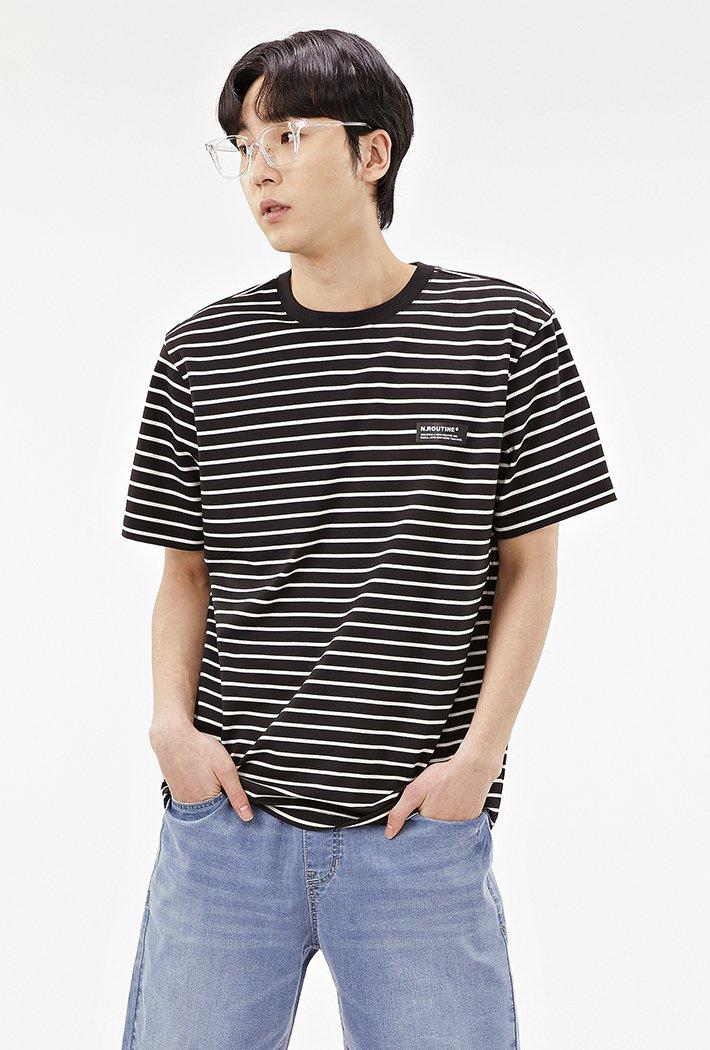 공용 캐주얼 스트라이프 반팔 티셔츠-ABZU5801C03