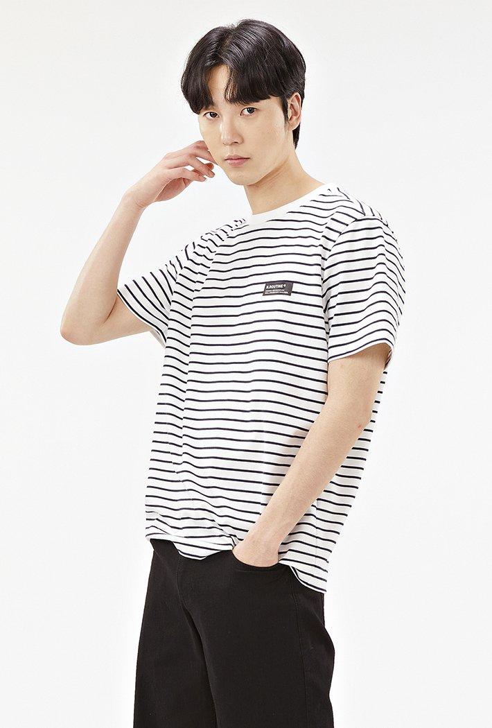 공용 캐주얼 스트라이프 반팔 티셔츠-ABZU5801C04