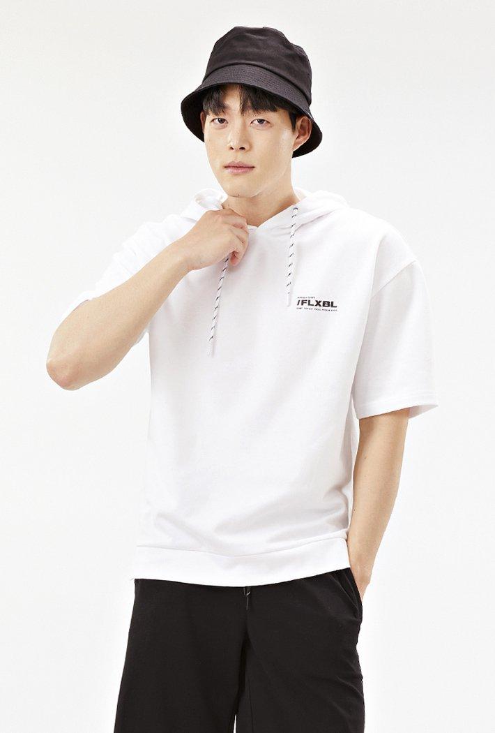 공용 세미오버핏 5부 후드 티셔츠-ABZU5803C01