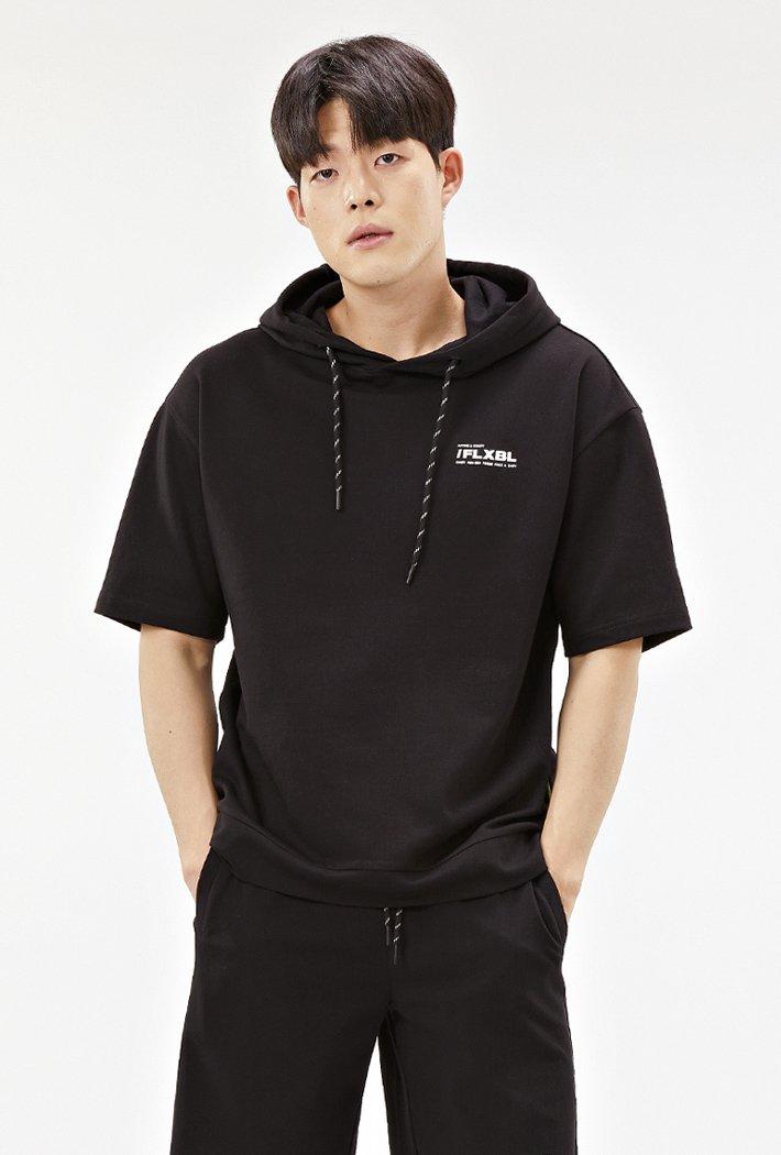 공용 세미오버핏 5부 후드 티셔츠-ABZU5803C03