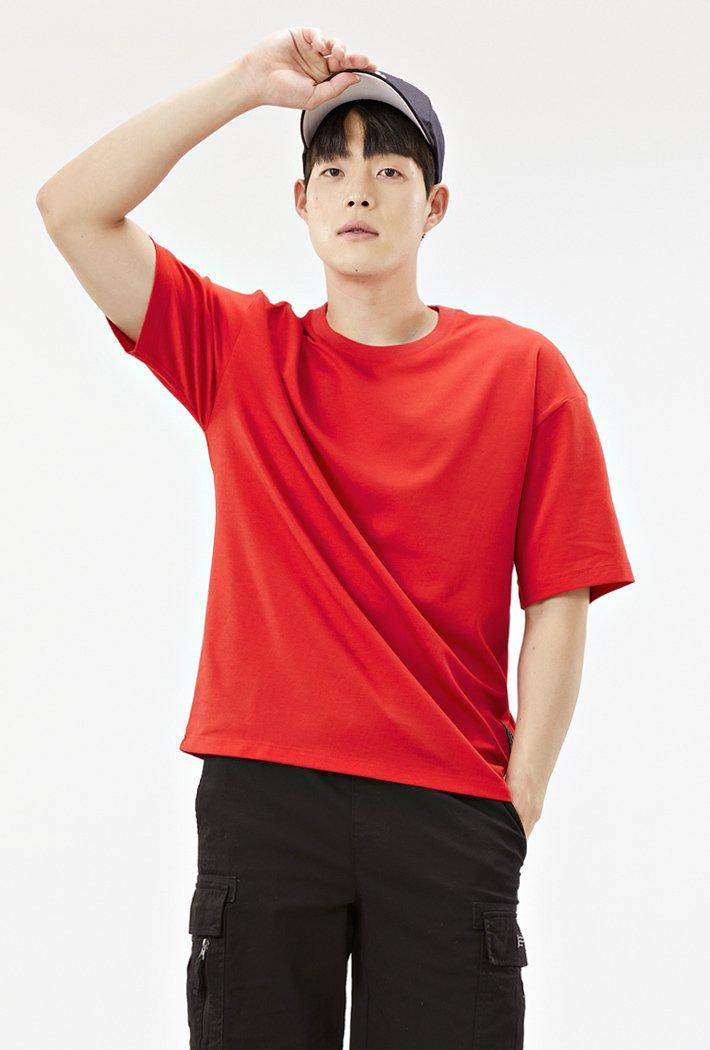공용 오버핏 데일리 5부 티셔츠-ABZU5804C07