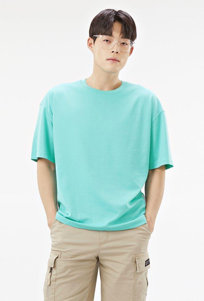 공용 오버핏 데일리 5부 티셔츠-ABZU5804C0S