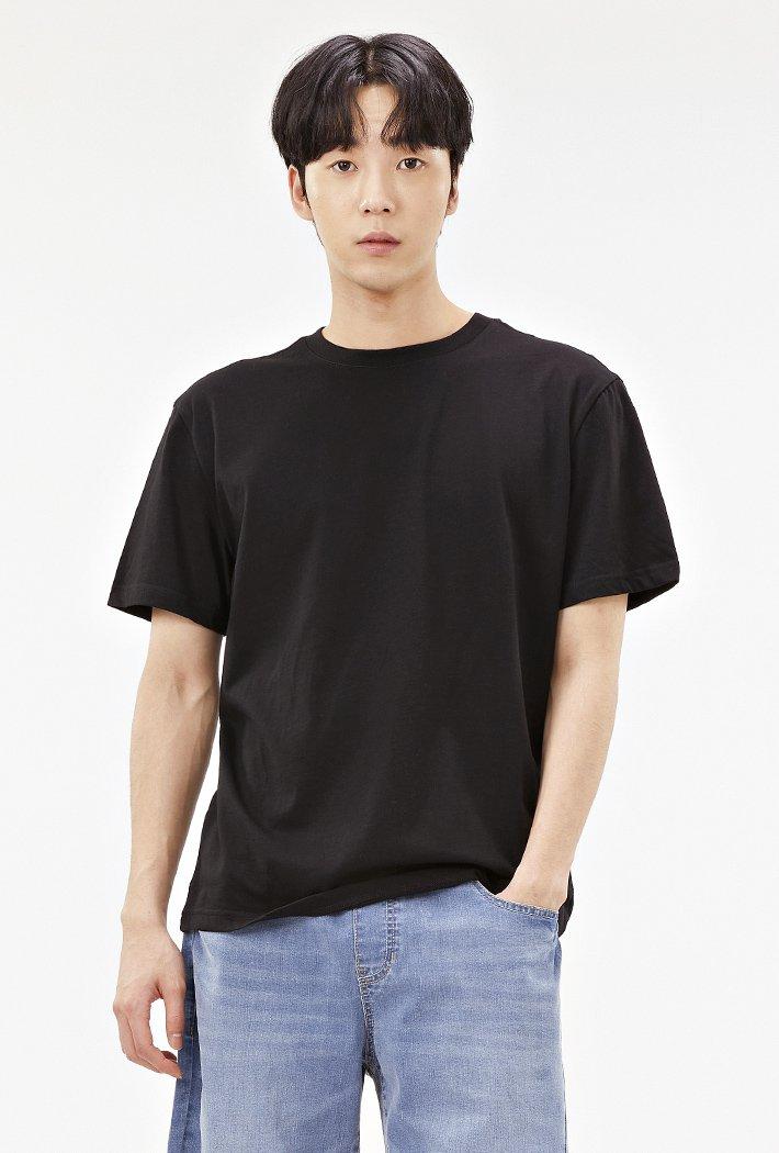 공용 베이직 라운드넥 반팔 티셔츠-ABZU5810D03