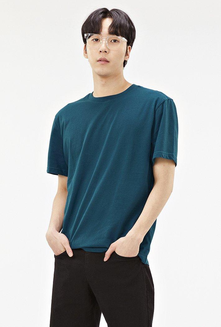 공용 베이직 라운드넥 반팔 티셔츠-ABZU5810D0G