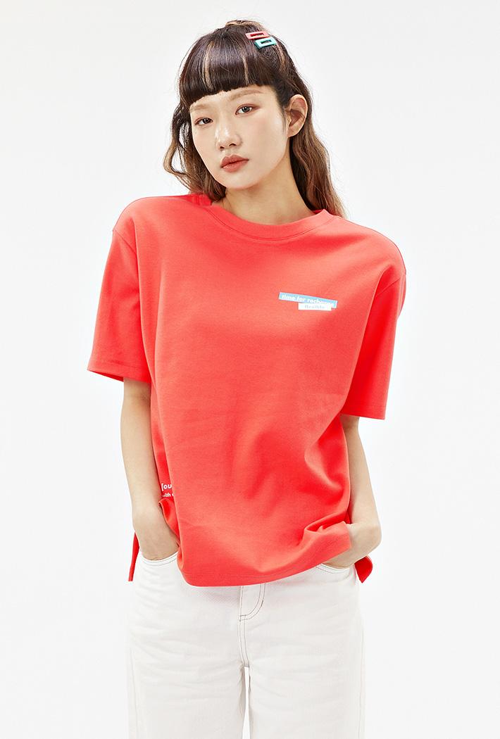 여성 루즈핏 포토 그래픽 티셔츠-ACAG5868F07