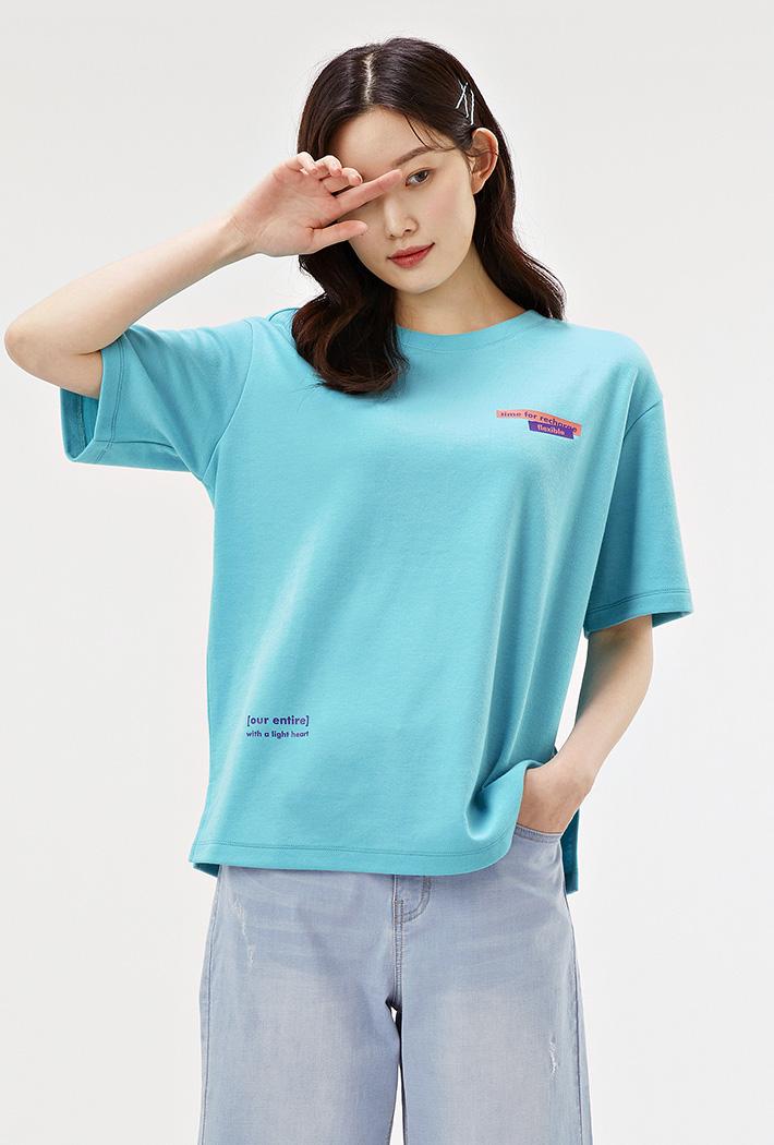 여성 루즈핏 포토 그래픽 티셔츠-ACAG5868F0S
