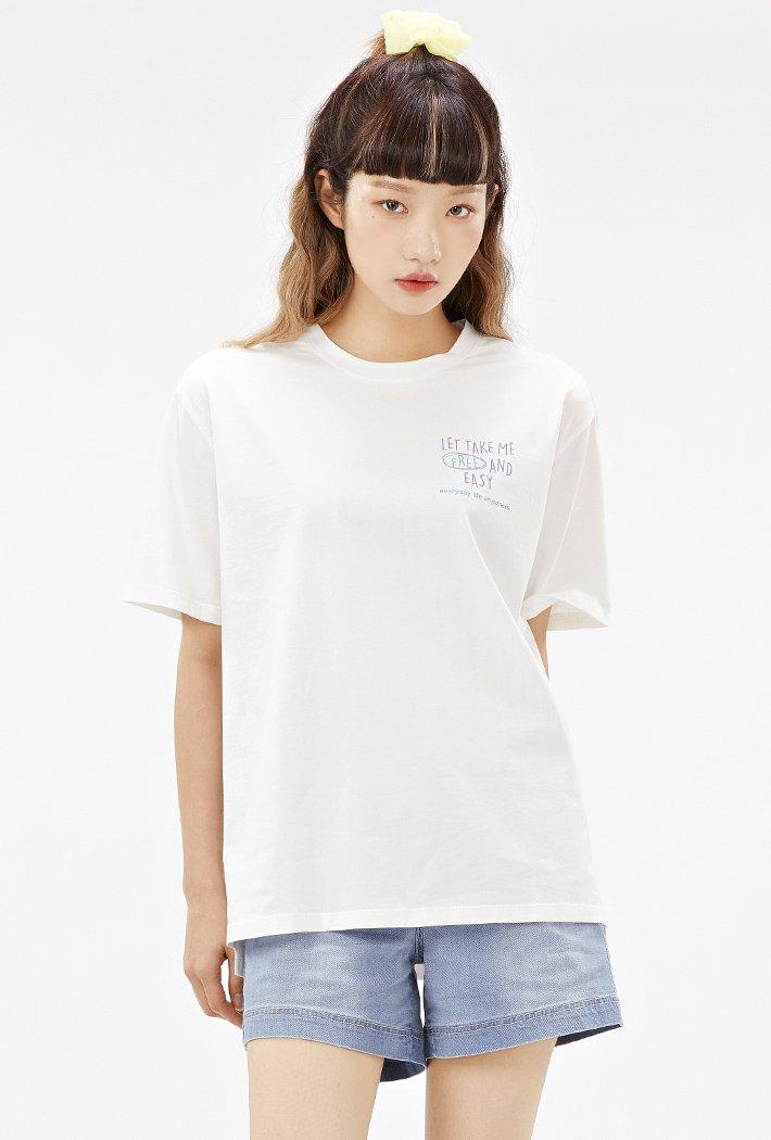 여성 루즈핏 앞뒤 레터 그래픽 티셔츠-ACAG5869E0A