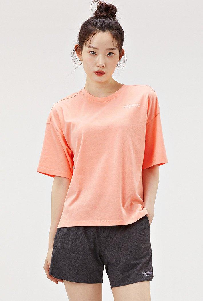 여성 스포티브 크롭 반팔 티셔츠-ACAG5871E0Q