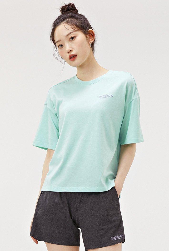 여성 스포티브 크롭 반팔 티셔츠-ACAG5871E0S