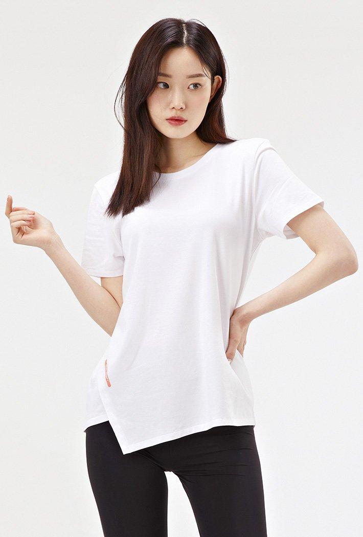 여성 비대칭 절개 반팔 티셔츠-ACAG5873E01
