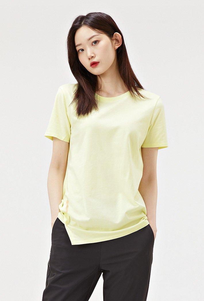 여성 비대칭 절개 반팔 티셔츠-ACAG5873E06