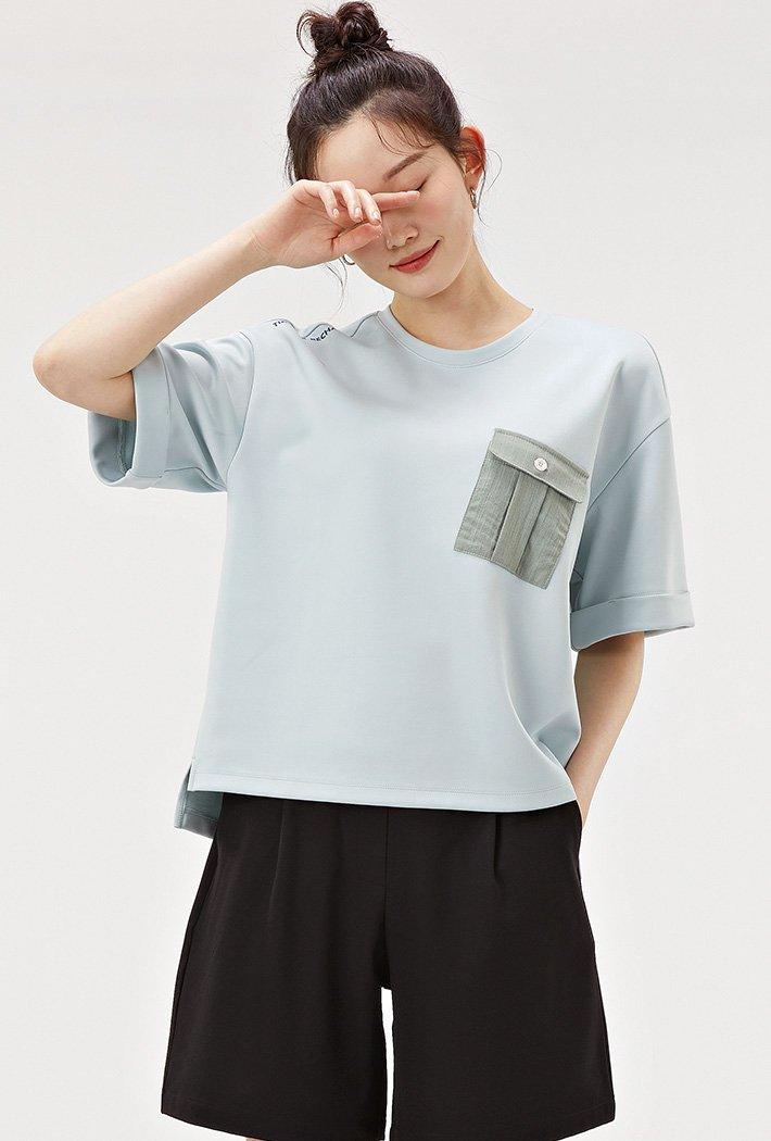여성 우븐포켓 유틸리티 티셔츠-ACAG5877F0S