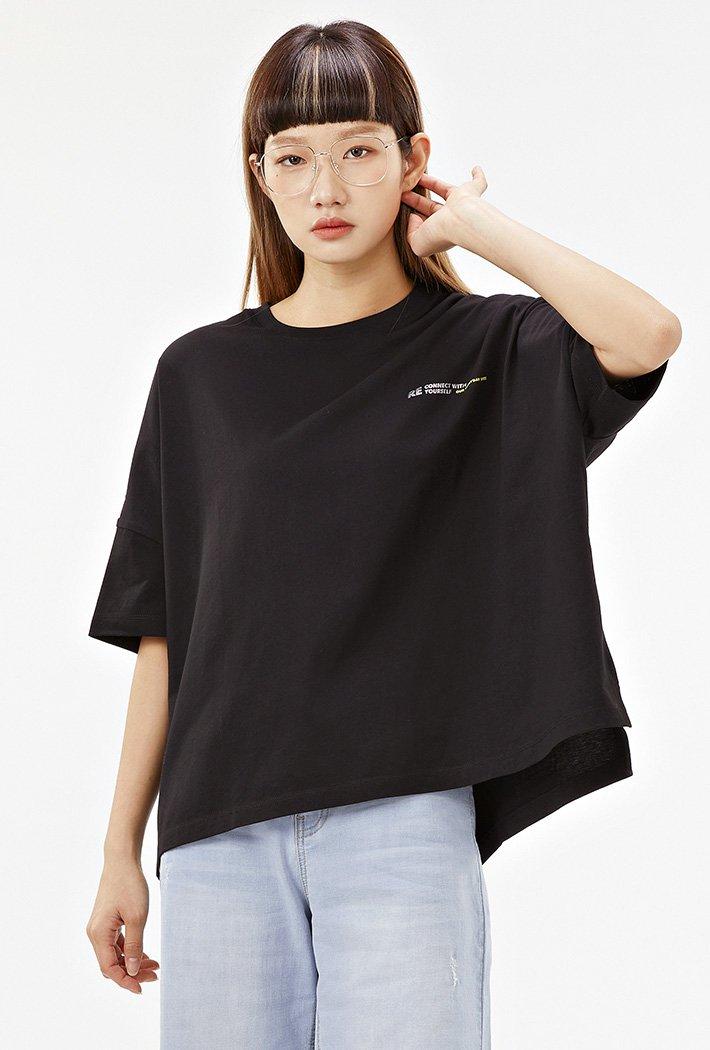 여성 루즈핏 홀로그램 레터 티셔츠-ACAG5878F03